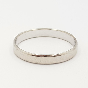 18CT 2.0GR WHITE GOLD BAND RING SIZE O #17854 **