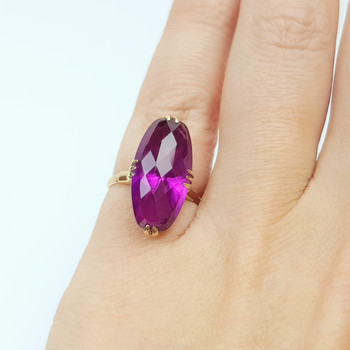 18CT 3.3GR PURPLE SAPPHIRE COCKTAIL RING SIZE I #51272