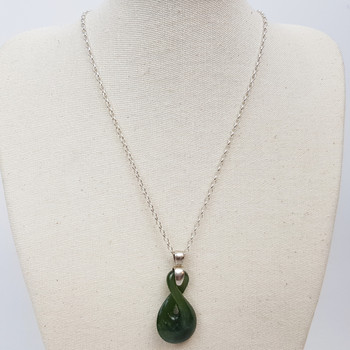 9.5GR SILVER CHAIN & NZ JADE PENDANT NECKLACE #49391
