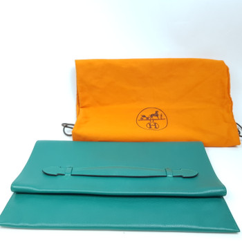 HERMES PLIPLAT POCHETTE CLUTCH BAG - MALACHITE EVERCOLOR - WITH CARD & DUST BAG #52419