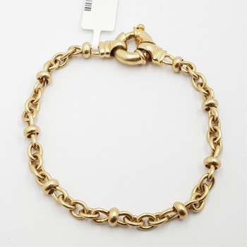 9CT 13.9GR YELLOW GOLD FANCY LINK BRACLET #0605439 **