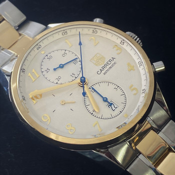 TAG HEUER CARRERA AUTOMATIC CHRONOGRAPH WATCH CAS2150 18CT GOLD/SS #52609