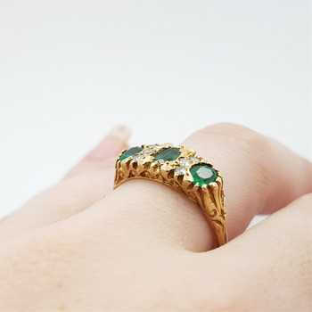 14CT 4.7GR YELLOW GOLD VINTAGE EMERALD & DIAMOND RING SIZE R VAL $2185 #51748