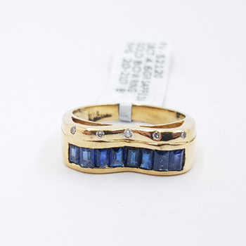 18CT 4.6GR YELLOW GOLD SAPPHIRE & DIAMOND BOW RING SIZE L 1/2 #52120