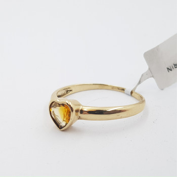 9CT 1.6GR CITRINE YELLOW GOLD LOVE HEART RING SIZE S #1808863