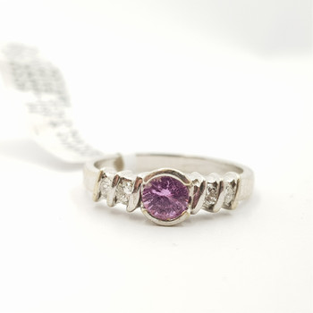 9CT NATURAL PINK SAPPHIRE & DIAMOND WHITE GOLD RING SIZE K #H707186