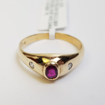 9CT 2.8GR NATURAL RUBY & DIAMOND YELLOW GOLD RING SIZE P1/2  #1131