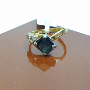 18CT 3.1GR NATURAL SAPPHIRE & DIAMOND YELLOW GOLD RING SIZE J1/2 #1793