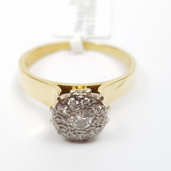 18CT YELLOW GOLD 3.7GR DIAMOND CLUSTER RING SIZE M1/2 #4555