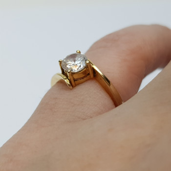 14CT 2.0GR YELLOW GOLD CZ RING SIZE I 1/2 #34686