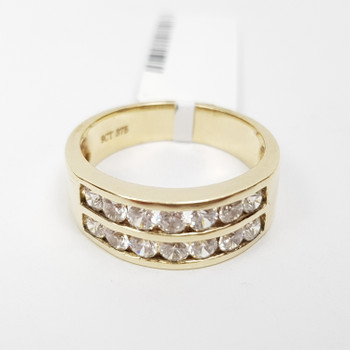 9CT 3.8GR YELLOW GOLD CZ DOUBLE CHANNEL RING BAND SIZE M #49390 **