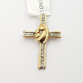 9CT 1.9GR YELLOW GOLD DIAMOND CROSS PENDANT #17048