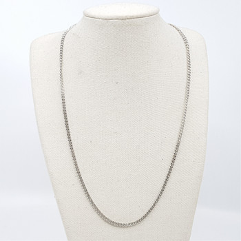 9CT 10.3GR WHITE GOLD CURB LINK CHAIN NECKLACE #43702-1 **