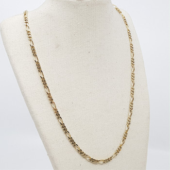 9CT 13.0GR YELLOW GOLD FIGARO CHAIN NECKLACE #41396 **