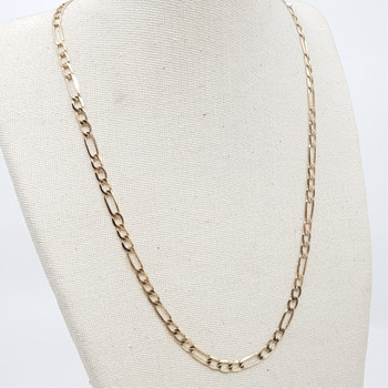 9CT 5.0GR YELLOW GOLD FIGARO CHAIN NECKLACE #49174 **