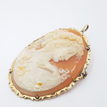 14CT 12.8GR YELLOW GOLD CAMEO BROOCH / PENDANT #1000005