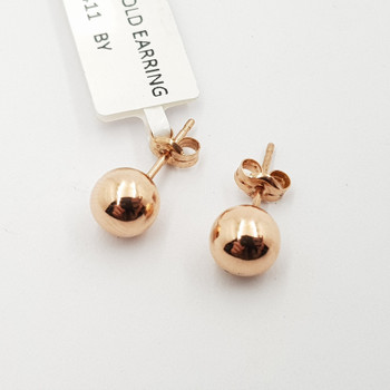 9CT 0.5GR ROSE GOLD BALL EARRINGS #50176 **