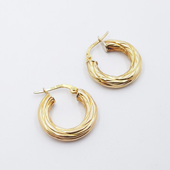 9CT 1.6GR YELLOW GOLD HOOP EARRINGS #50177 **
