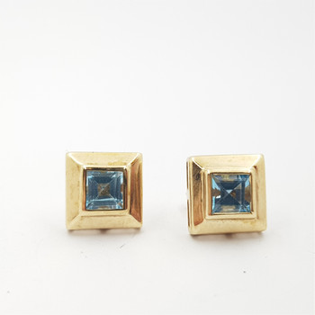9CT 1.4GR YELLOW GOLD SQUARE TOPAZ EARRINGS #51528