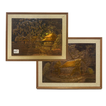 PAIR OF COPPER PRESS BY STONE PAINTINGS / ARTWORK #43553