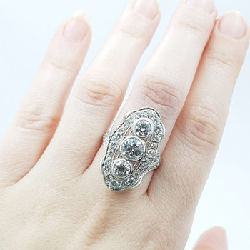 *NEW* PLATINUM 3.5CT TW DIAMOND VINTAGE INSPIRED CLUSTER RING VAL $32335 SIZE N #40917
