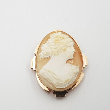 ART DECO 9CT 11.9GR YELLOW GOLD CAMEO BROOCH #43584