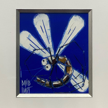 DAVID HART (1971 - ) 2008 DRAGONFLY PAINTING - FRAMED UNDER GLASS #44865