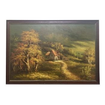 EDWARDS PAINTING COTTAGE IN THE WOODS - ENGLISH SCHOOL - OIL ON BOARD #52814