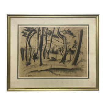 WILLIAM MCCANCE (1894-1970) PAINTING C/1925 PENCIL & CHARCOAL ON PAPER - UNDER GLASS #52816
