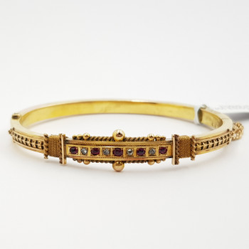 18CT 8.1GR ANTIQUE YELLOW GOLD DIAMOND & RUBY BANGLE #43157