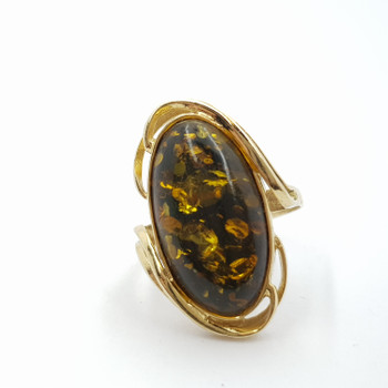 14CT 5.2GR YELLOW GOLD AMBER COCKTAIL RING SIZE P #49325