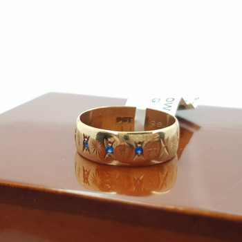 9CT 2.8GR YELLOW GOLD SAPPHIRE BAND RING SIZE K 1/2 #22548