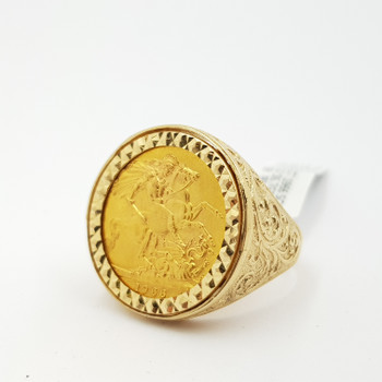 22CT 1966 SOVEREIGN COIN IN 9CT YELLOW GOLD RING 16.7GR TW SIZE W #9036