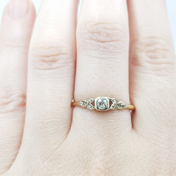 18CT 2.1GR YELLOW GOLD VINTAGE DIAMOND RING VAL $2350 SIZE S #0117