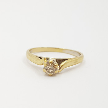 18CT 2.1GR YELLOW GOLD SOLITAIRE DIAMOND RING SIZE K 1/2 #15314