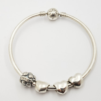 PANDORA SILVER BANGLE WITH 4 PANDORA CHARMS #52806