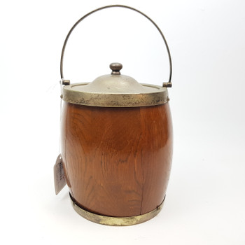 VINTAGE WOODEN & SILVER PLATED ICE BUCKET #38687