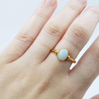 18CT 2.9GR ANTIQUE YELLOW GOLD OPAL RING SIZE R #41942