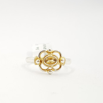 VINTAGE STYLE SILVER CITRINE RING SIZE S #3633