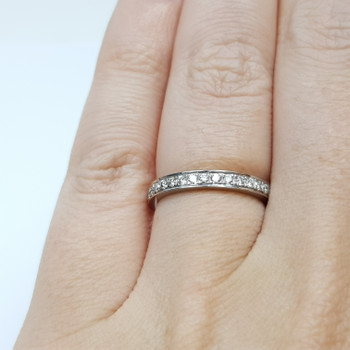 18CT 3.5GR WHITE GOLD DIAMOND CHANNEL RING SIZE K 1/2 #50943
