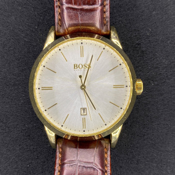 HUGO BOSS DRESS WATCH WITH LEATHER BAND - HB851342187 #51884