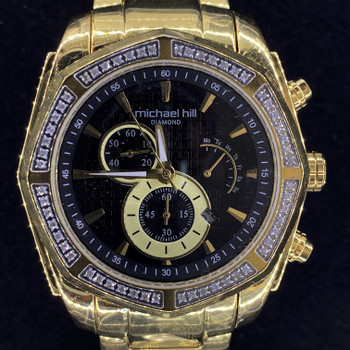 MICHAEL HILL 0.5CT DIAMOND CHRONOGRAPH 9573 WATCH RRP $999 #52511