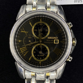 SEIKO TWO TONE SOLAR CHRONOGRAPH WATCH 390710 V172 #52510