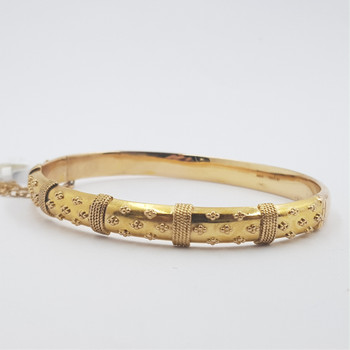 VINTAGE 15CT 9.0GR YELLOW GOLD HINGE BANGLE #34314