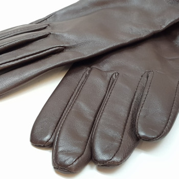 *NEW* LADIES LEATHER DENTS GLOVES - BROWN - SIZE M #41478-1