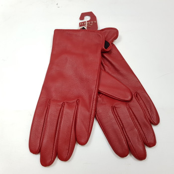 *NEW* LADIES LEATHER DENTS GLOVES - RED - SIZE L #41478-3