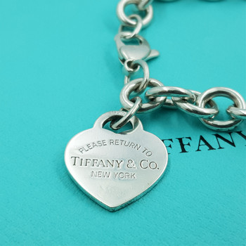 "TIFFANY & CO ""RETURN TO"" SILVER BELCHER BRACELET WITH CHARM #40103"