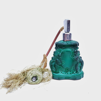 MALACHITE GLASS ART DECO CHERUB PERFUME BOTTLE (A/F) #46414