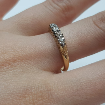 18CT 3.9GR ANTIQUE YELLOW GOLD OLD CUT DIAMOND RING SIZE P 1/2 #3000