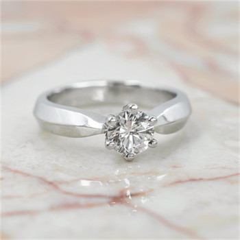 18CT 4.2GR WHITE GOLD 0.65CT DIAMOND SOLITAIRE ENGAGEMENT RING + VAL $7285 SIZE J #8639
